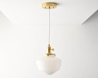 Pendant Light - Raw Brass - Mid Century - Modern - Industrial - Schoolhouse Glass Globe - Cloth Wire - Ceiling Canopy Mount [AUGUSTA]