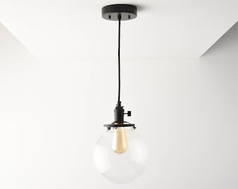 Globe Pendant Light - Matte Black - Mid Century - Modern - Industrial - Glass Globe - Cloth Wire - Ceiling Canopy Mount - Edison [TOLEDO]