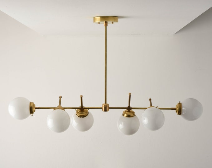 Modern Globe Chandelier - Gold Hanging Light - Mid Century - Industrial - Candelabra - White Globe - Large - UL Listed [AUSTIN]