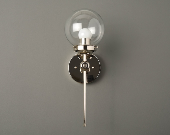 Wall Sconce - Polished Nickel - Mid Century - Modern - Industrial - Wall Light - 6 Inch Glass Globe - Bathroom Vanity -UL Listed [PIERSON]