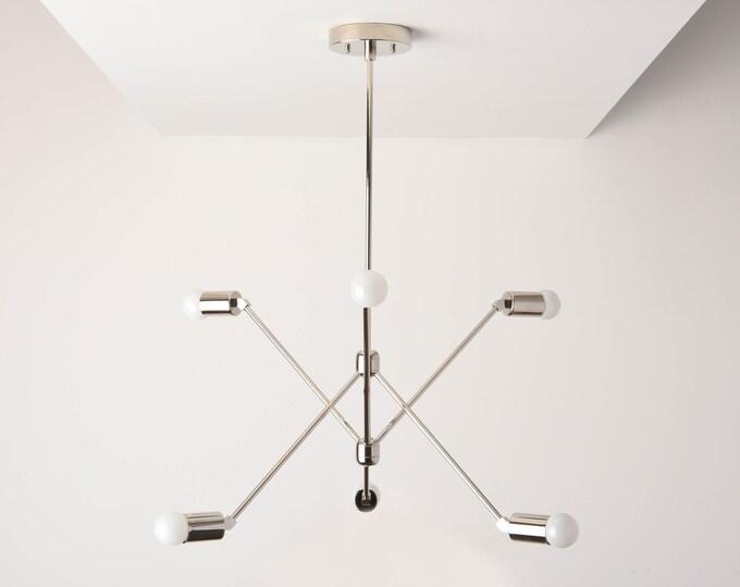 Havana Chandelier [Polished Nickel - Mid Century - Industrial - Modern - Sputnik - Pinwheel - 6 Arm - 6 Light - Hanging - Light - UL Listed]