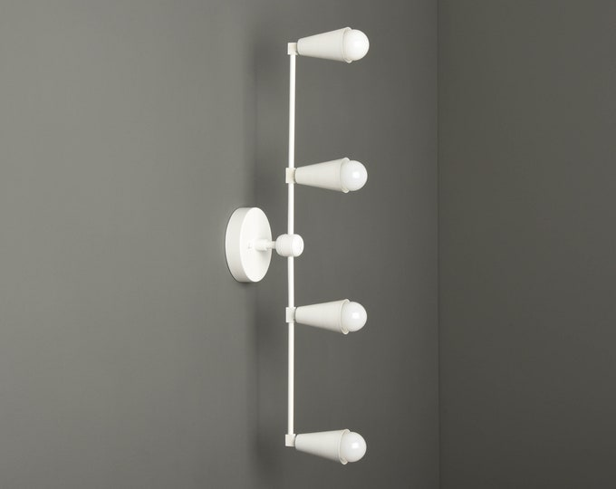 White Wall Sconce - Modern Bathroom Light - Matte White - Mid Century - Industrial - Vertical Sconce - Wall Light - UL Listed [REDDICK]