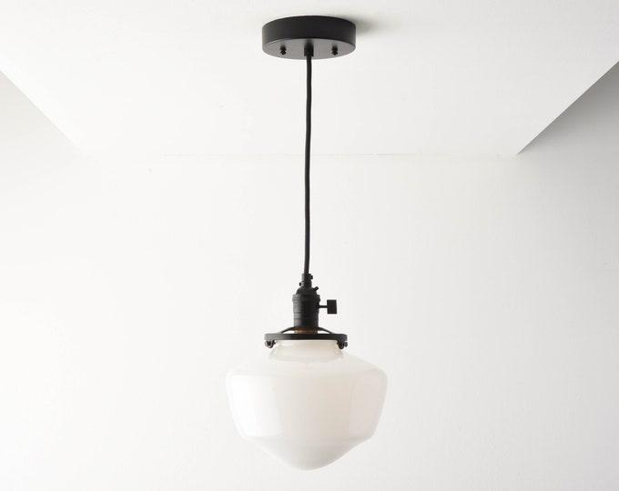 Pendant Light - Matte Black - Mid Century - Modern - Industrial - Schoolhouse Glass Globe - Cloth Wire -Ceiling Canopy Mount [AUGUSTA]