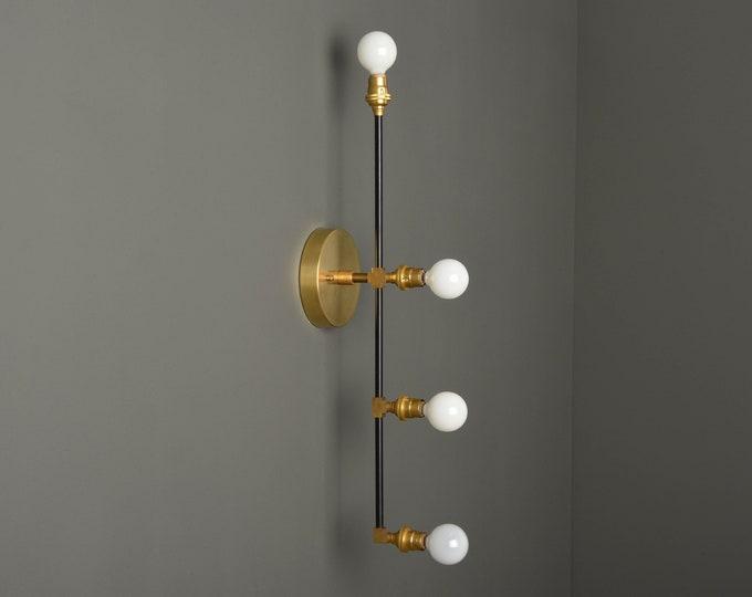 Mid Century Vanity Light - Modern Wall Sconce - Bathroom Vanity Light - Black & Brass - Industrial - Wall Light - UL Listed [INVERNESS]