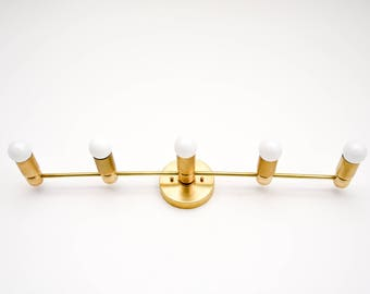Aspen Wall Sconce [Raw Brass - Mid Century - Modern - Industrial - Vanity - 5 Bulb - 5 Light - Bathroom - Track Lighting - UL Listed]