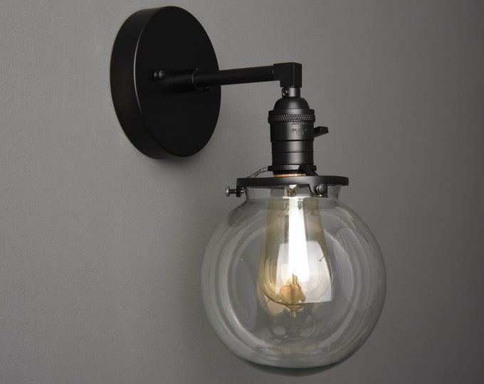 Wall Sconce - Matte Black - Mid Century - Modern - Industrial - Wall Light - Clear Glass Globe - Bathroom Vanity - UL Listed [TELLURIDE]