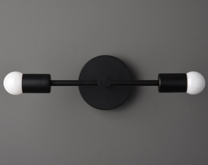 Wall Sconce - Matte Black - Mid Century - Modern - Industrial - Wall Light - Bathroom Vanity - UL Listed [ARTESIA]