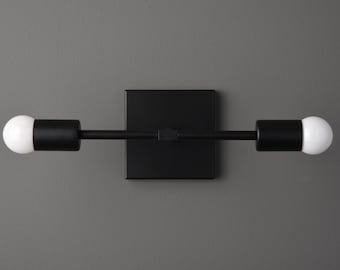 Windham Wall Sconce [Matte Black - Mid Century - Modern - Industrial - 2 Light - 2 Bulb - Vanity - Bathroom - UL Listed]