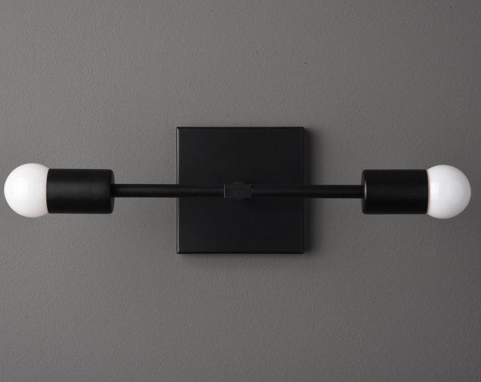 Mid Century Vanity Light - Modern Wall Sconce - Matte Black - Industrial - Wall Light - Bathroom Vanity - UL Listed [WINDHAM]