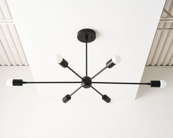 Industrial Hanging Light - Matte Black - Mid Century - Modern - Sputnik - Pinwheel - Large - Lighting - Starburst - UL Listed [WASHINGTON]