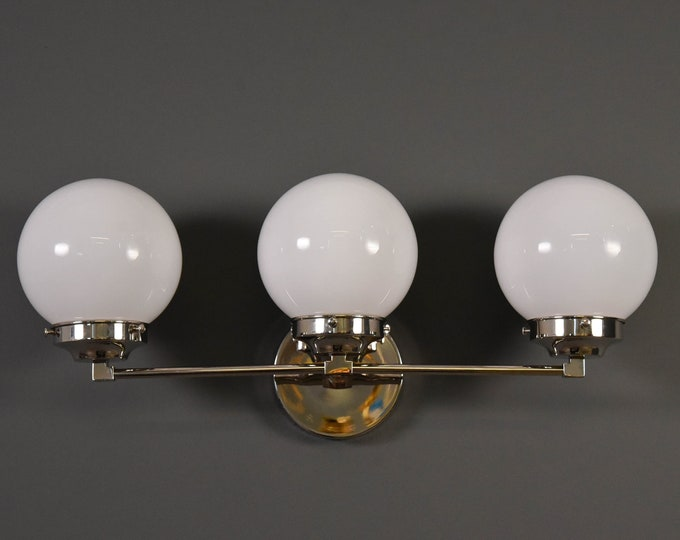 Wall Sconce - Polished Nickel - Mid Century - Modern - Industrial - Wall Light - White Glass Globe - Bathroom Vanity - UL Listed [FRISCO]
