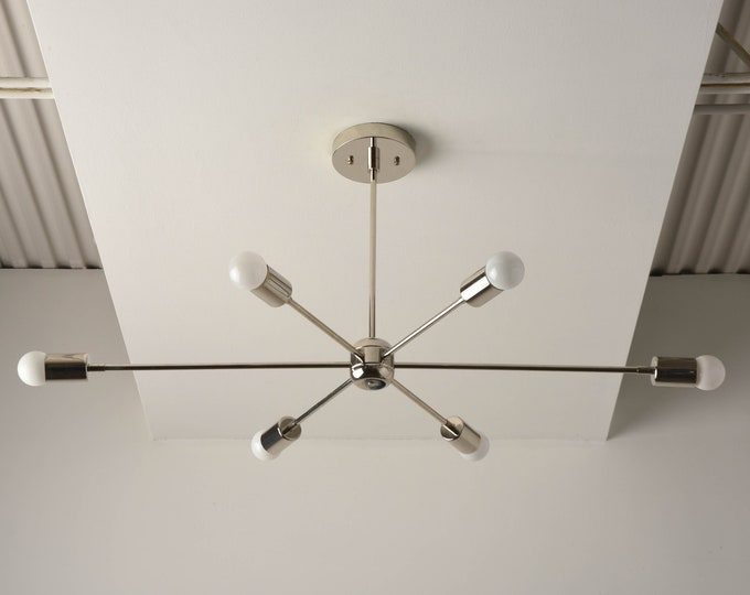 Chandelier - Polished Nickel - Mid Century - Industrial - Modern - Sputnik - Pinwheel - Lighting - Starburst - UL Listed [WASHINGTON]