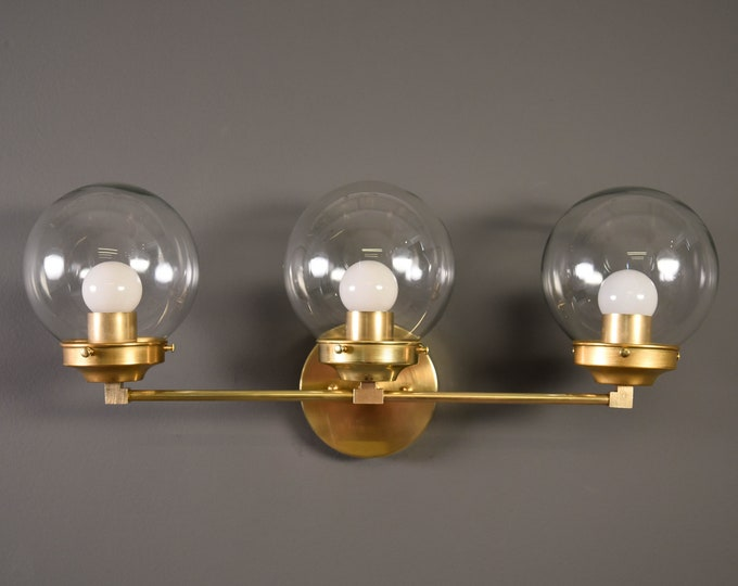 Modern Globe Vanity Light - Raw Brass - Mid Century - Industrial - Wall Light - Glass Globe - UL Listed [FRISCO]