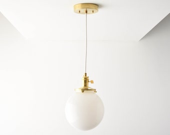 Globe Pendant Light - Raw Brass - Mid Century - Modern - Industrial - White Glass Globe - Ceiling Canopy Mount - Edison [TOLEDO]