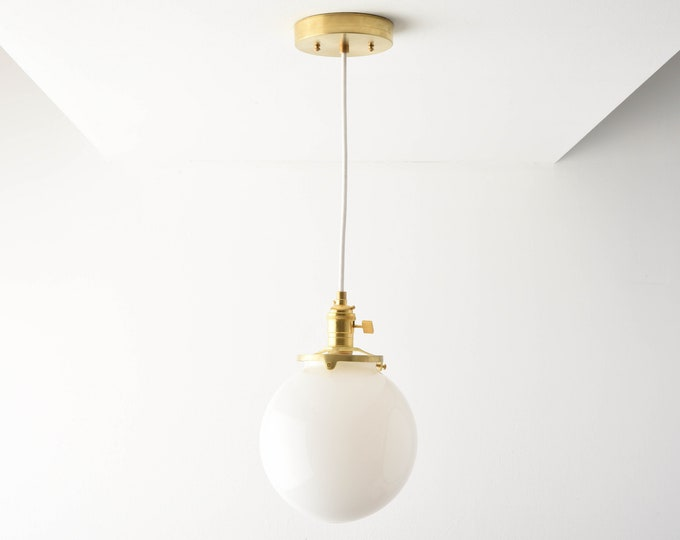 Globe Pendant Light - Raw Brass - Mid Century - Modern - Industrial - White Glass Globe - Ceiling Canopy Mount - Edison [TOLEDO]