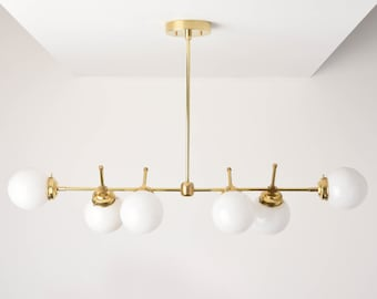 Chandelier - Raw Brass - Mid Century - Industrial - Modern - Candelabra - 6 Light - 5 inch - White Globe - Large - UL Listed [AUSTIN]