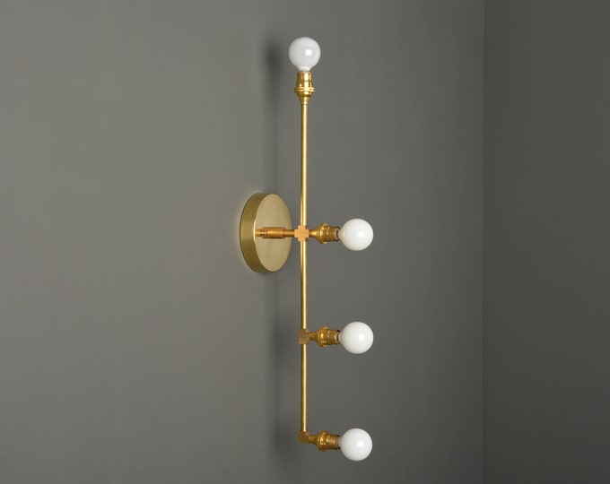 Industrial Wall Sconce - Gold Wall Light - Mid Century - Modern - Vertical - Bathroom Vanity - UL Listed [INVERNESS]
