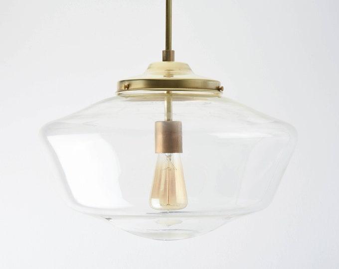 Pendant Light - Raw Brass - Mid Century - Modern - Industrial - Clear - 16 inch - Schoolhouse Glass Globe [EVANSTON]