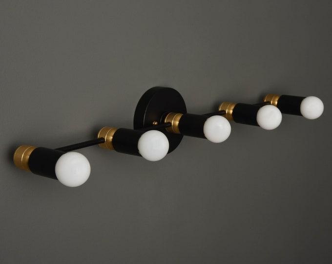Modern Bathroom Light - Mid Century Vanity Light - Black & Brass - Industrial - Wall Light - Track Lighting - UL Listed [ASPEN]