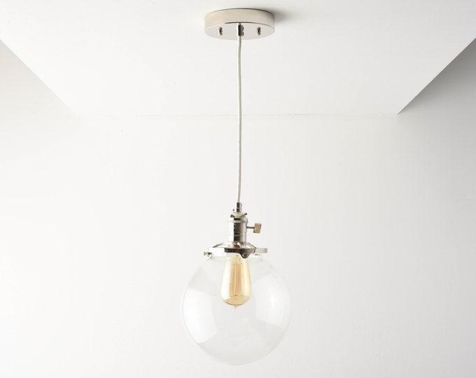 Globe Pendant Light - Polished Nickel - Mid Century - Modern - Industrial - Clear Glass Globe - Ceiling Canopy Mount - Edison [TOLEDO]