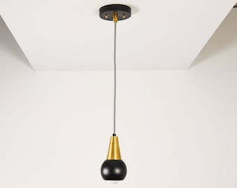 Langley Pendant Light [Black & Brass - Mid Century - Modern - Industrial - Orb Cover - Cone Cover - Vanity - Single Light - UL Listed]