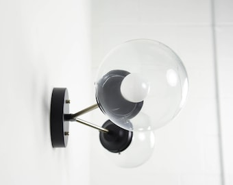 Wall Sconce Vanity Black and Satin Brushed Nickel 2 Bulb With Clear Globes Modern  Mid Century Industrial Art Light Bathroom UL Listed