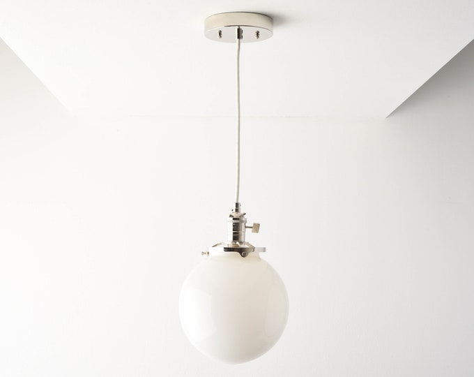 Globe Pendant Light - Polished Nickel - Mid Century - Modern - Industrial - White Glass Globe - Ceiling Canopy Mount - Edison [TOLEDO]