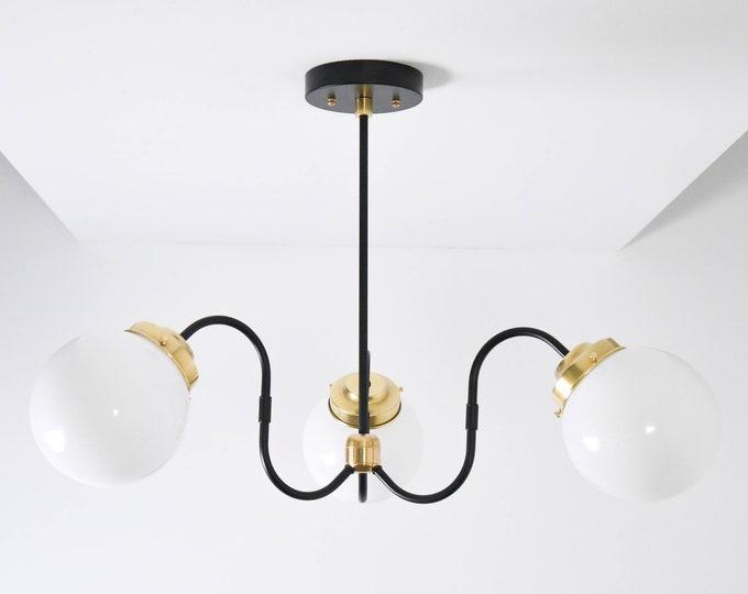 Modern Chandelier Light - Black & Gold Globe Hanging Light - Mid Century - Industrial - Modern - Ceiling Light - UL Listed [AMSTERDAM]