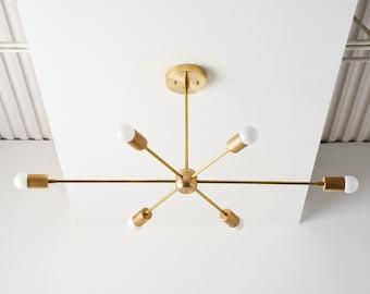 Brass Sputnik Light - Modern Hanging Light - Mid Century - Industrial - Pinwheel - Large - Lighting - Starburst - UL Listed [WASHINGTON]