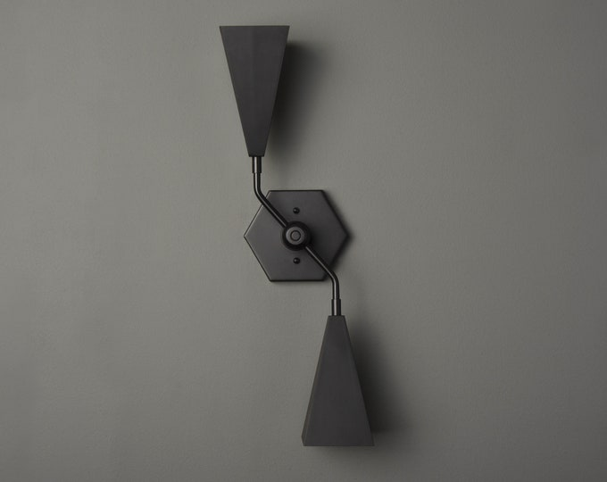 Modern Vanity Light - Black Wall Sconce - Mid Century - Industrial - Hexagon - UL Listed [AMARILLO]