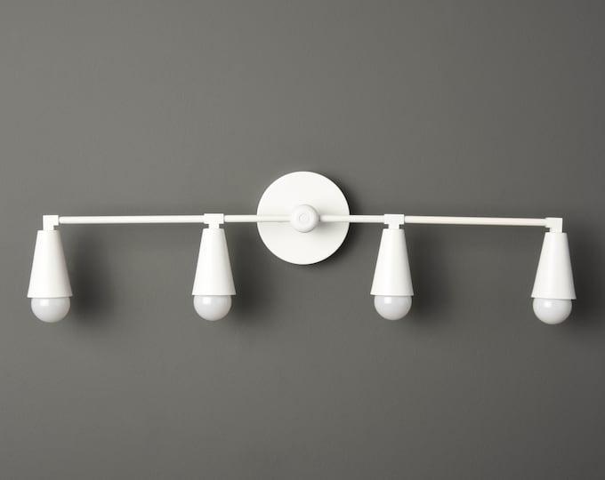 White Modern Sconce - Industrial Wall Light - Matte White - Mid Century - Bathroom Vanity - UL Listed [AUBURN]