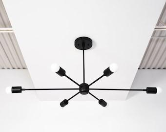 Washington Chandelier [Matte Black - Mid Century - Industrial - Modern - Sputnik - Pinwheel - Large - Lighting - Starburst - UL Listed]