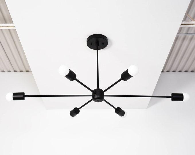 Chandelier - Matte Black - Mid Century - Industrial - Modern - Sputnik - Pinwheel - Large - Lighting - Starburst - UL Listed [WASHINGTON]