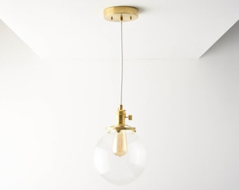 Globe Pendant Light - Raw Brass - Mid Century - Modern - Industrial - Clear Glass Globe - Ceiling Canopy Mount - Edison [TOLEDO]