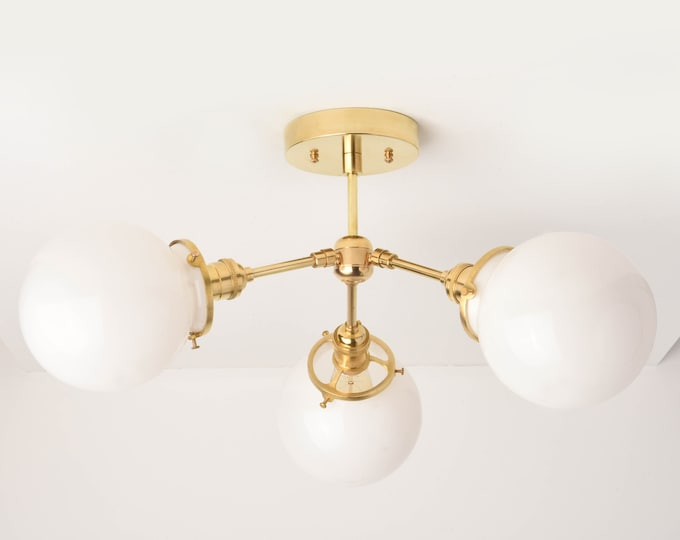Gold Chandelier Light - Modern Hanging Light - Mid Century - Industrial - Sputnik - Pinwheel - White Globe - Edison [VANCOUVER]