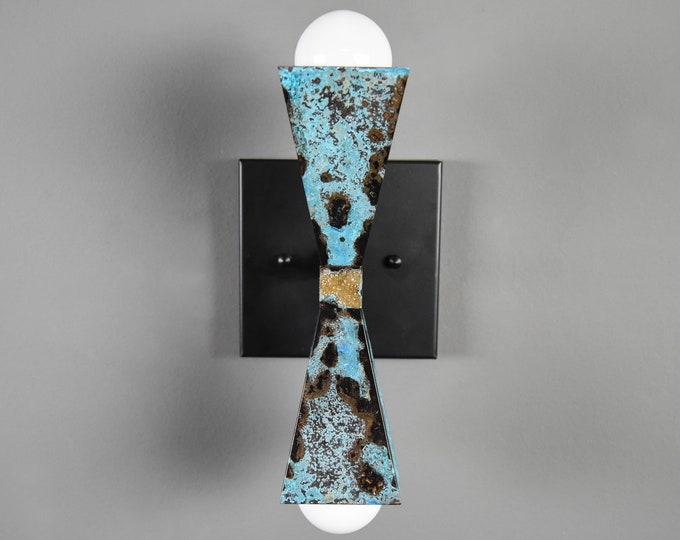 Turquoise Patina and Matte Black Pyramid 2 Light Wall Sconce Modern Industrial Art Light Verdigris Aged UL Listed