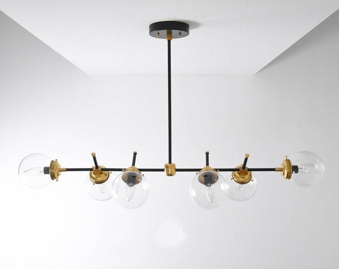 Modern Globe Chandelier - Dining Table Light - Mid Century - Industrial - Candelabra - Minimal - Clear Globe - Large - UL Listed [AUSTIN]