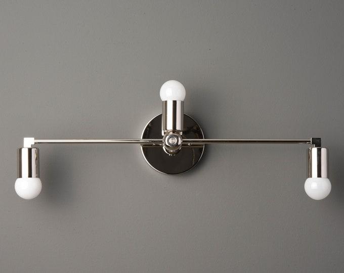 Wall Sconce - Polished Nickel - Mid Century - Modern - Industrial - Wall Light - Art Light - Bathroom Vanity - UL Listed [GRANADA]