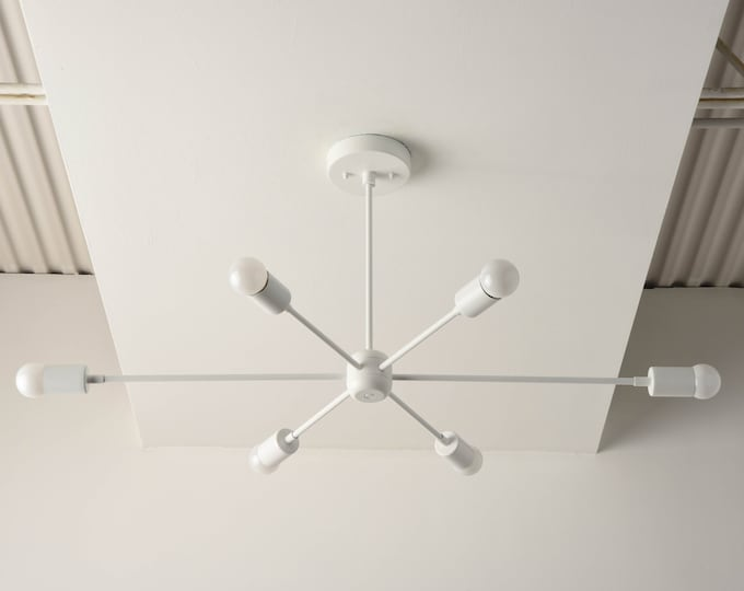 White Sputnik Light - Modern Chandelier Lighting - Mid Century - Industrial - Pinwheel - Large - Starburst - UL Listed [WASHINGTON]