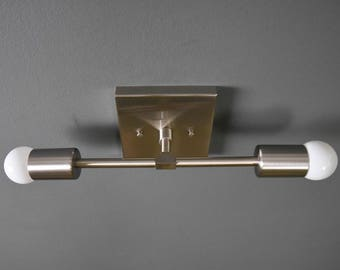 Wall Sconce Vanity Brushed Nickel 2 Bulb Square Base Modern Mid Century Industrial Art Light Bathroom Chrome UL Listed