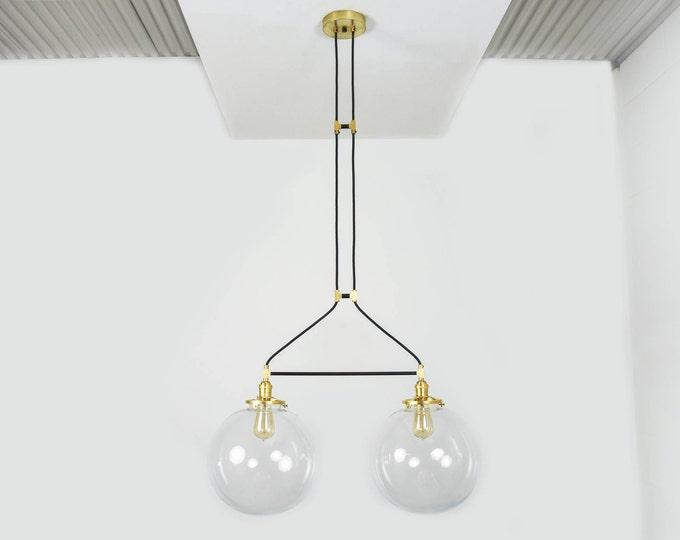 Globe Pendant Light - Black & Brass - Mid Century - Modern - Industrial - Glass Globe - Vanity - UL Listed [LYNNWOOD]