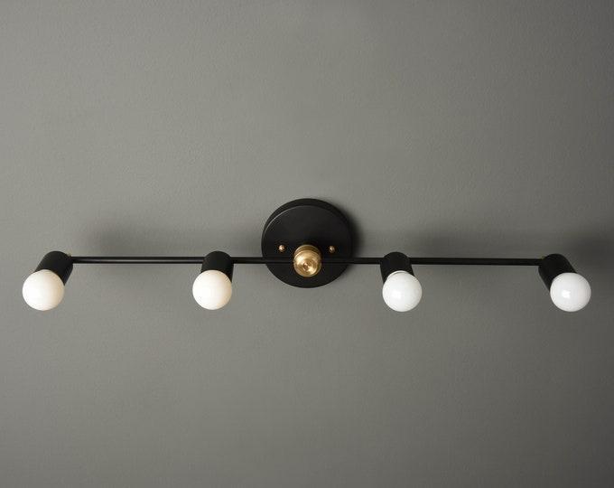 Modern Bathroom Light - Wall Sconce - Black & Brass - Mid Century - Industrial - Wall Light - UL Listed [GENEVA]