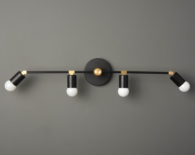 Modern Vanity Light - Black & Gold - Bathroom Light - Wall Sconce - Mid Century - Minimal - Industrial - Wall Light - UL Listed [ROCHESTER]