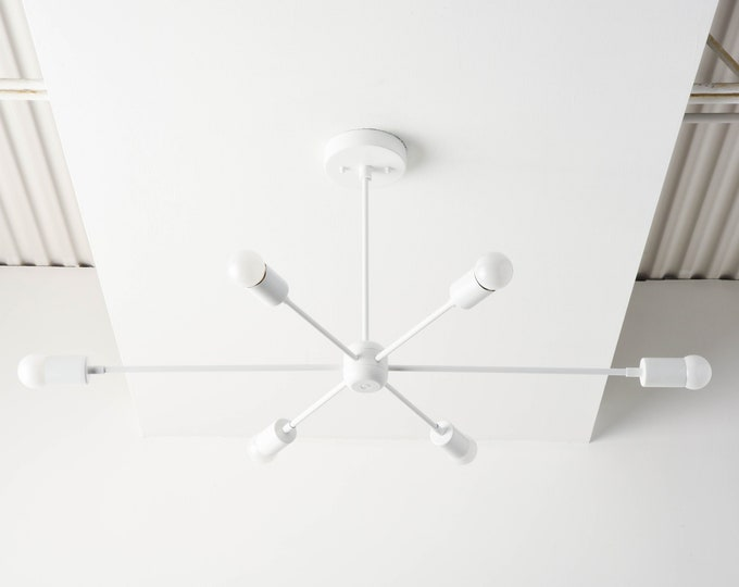 White Sputnik Light - Modern Chandelier Lighting - Mid Century - Industrial - Pinwheel - Large - Starburst - UL Listed [WASHINGTON]