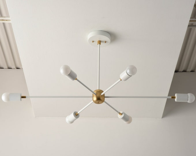 Mid Century Chandelier - Matte White & Brass - Industrial - Modern - Sputnik - Pinwheel - Lighting - Starburst - UL Listed [WASHINGTON]