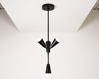 Rialto Pendant Light [Matte Black - Mid Century - Modern - Industrial - 4 Light - Cone Cover - Vanity - UL Listed]
