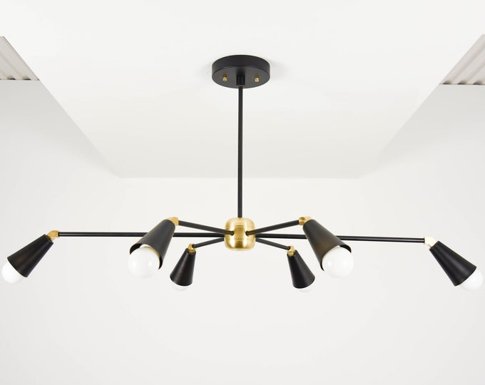 Sputnik Chandelier - Black & Gold Hanging Light - Mid Century - Industrial - Modern - Starburst - Pinwheel - UL Listed [TORONTO]