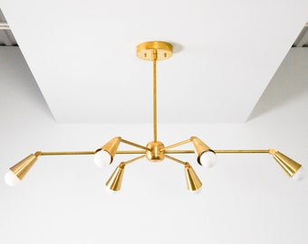 Chandelier - Raw Brass - Mid Century - Industrial - Modern - Dining Room - Starburst - 6 Arm - Pinwheel - Sputnik - UL Listed [TORONTO]