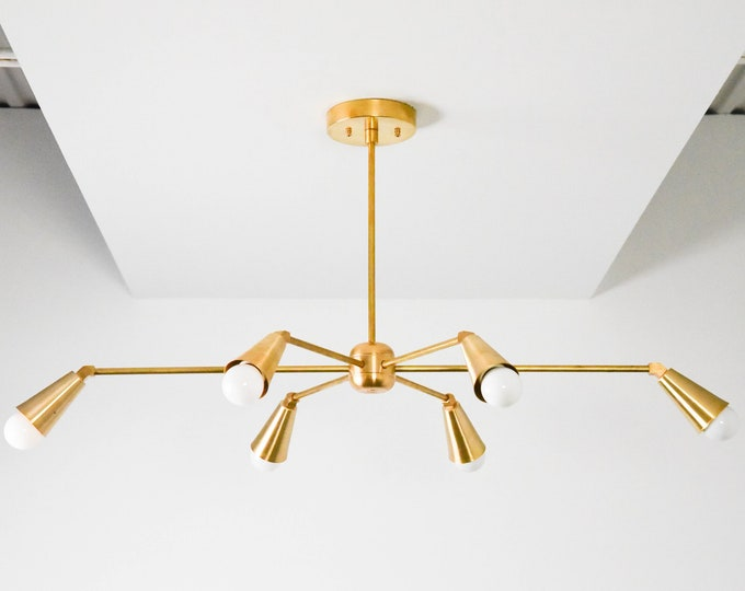 Gold Hanging Chandelier - Modern Sputnik Light - Mid Century - Industrial - Dining Room - Starburst - Pinwheel - UL Listed [TORONTO]