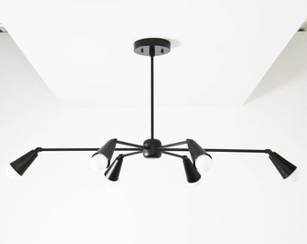 Industrial Chandelier Light - Black Sputnik Light - Mid Century - Modern - Dining Room - Starburst - Pinwheel - UL Listed [TORONTO]